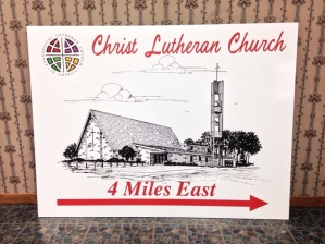 Large laminated direction sign